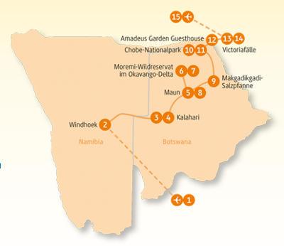 Botswana: Karte und Tourenverlauf Individualreise Kalahari und Viktoria-Fälle