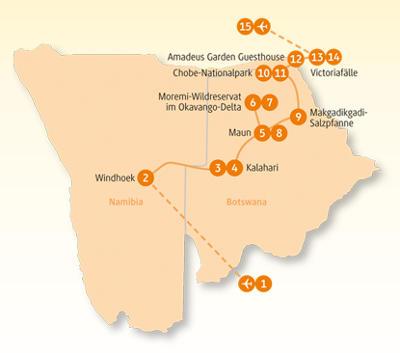 Botswana: Karte und Tourenverlauf Privatreise Kalahari und Victoriafälle