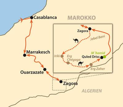 Ägypten: Karte und Tourenverlauf Kameltrekking in der Sahara