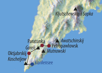 Russland (Asien): Karte und Tourenverlauf Naturrundreise Kamtschatka