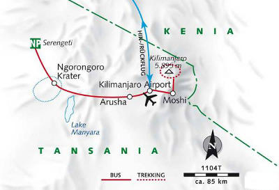 Kenia: Karte und Tourenverlauf Kilimanjaro, Serengeti, Ngorongorokrater