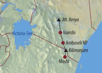 Tansania: Karte und Tourenverlauf Mt. Kenia – Kilimanjaro – Safari