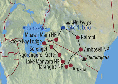 Kenia: Karte und Tourenverlauf Safari auf den Spuren der Großen Tierwanderung