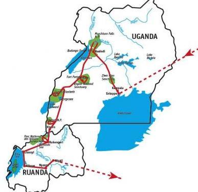 Kenia: Karte und Tourenverlauf Nashörner – Schimpansen – Berggorillas