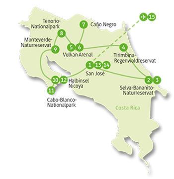 Costa Rica: Karte und Tourenverlauf Naturrundreise – Baden in der Karibik
