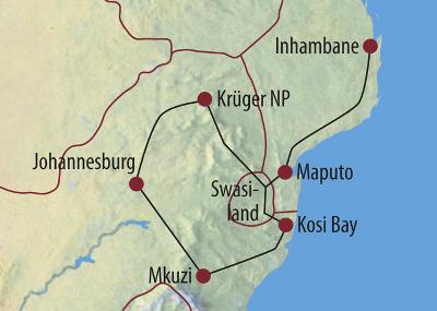 Namibia: Karte und Tourenverlauf Kosi Bay, Swasiland, Palmenstrände, Krügerpark