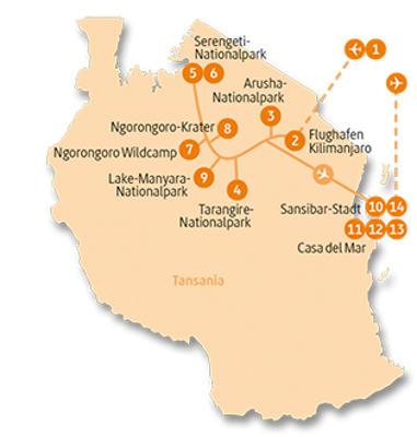 Tansania: Karte und Tourenverlauf Individualreise Safari – Sansibar
