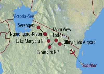 Tansania: Karte und Tourenverlauf Serengeti, Ngorongoro-Krater und Sansibar