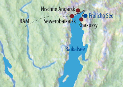 Russland (Asien): Karte und Tourenverlauf Trekkingtour am nördlichen Baikalsee