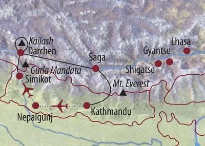 Nepal: Karte und Tourenverlauf Himalaya und Kailash-Umrundung