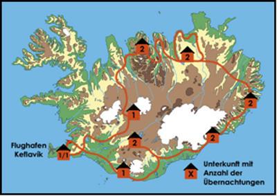 Island: Karte und Tourenverlauf Wanderreise – Gletscher, Vulkane und Fjorde