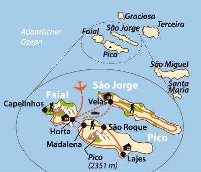 Azoren: Karte und Tourenverlauf Wanderreise auf drei Inseln