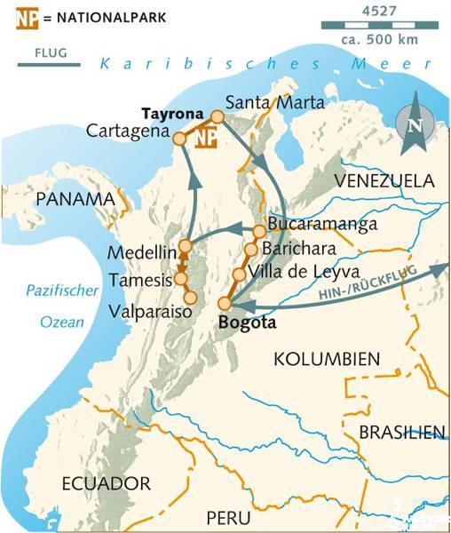 Kolumbien: Karte und Tourenverlauf Kolonialstädte, Wanderungen und Karibik