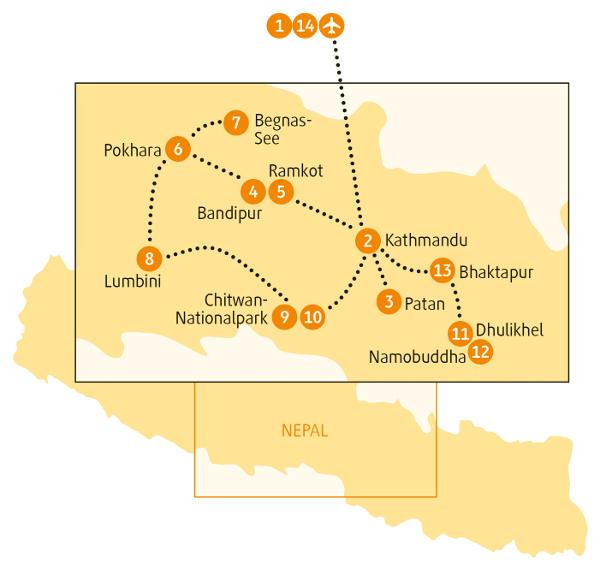Nepal: Karte und Tourenverlauf Rundreise Himalaya und Chitwan-Nationalpark