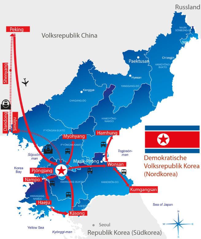 Japan: Karte und Tourenverlauf Große Nordkorea-Rundreise