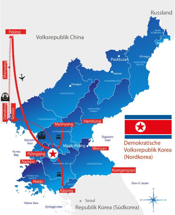 Japan: Karte und Tourenverlauf Nordkorea Kurztrip mit leichten Wanderungen