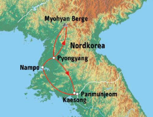: Karte und Tourenverlauf Nordkorea Kurzurlaub