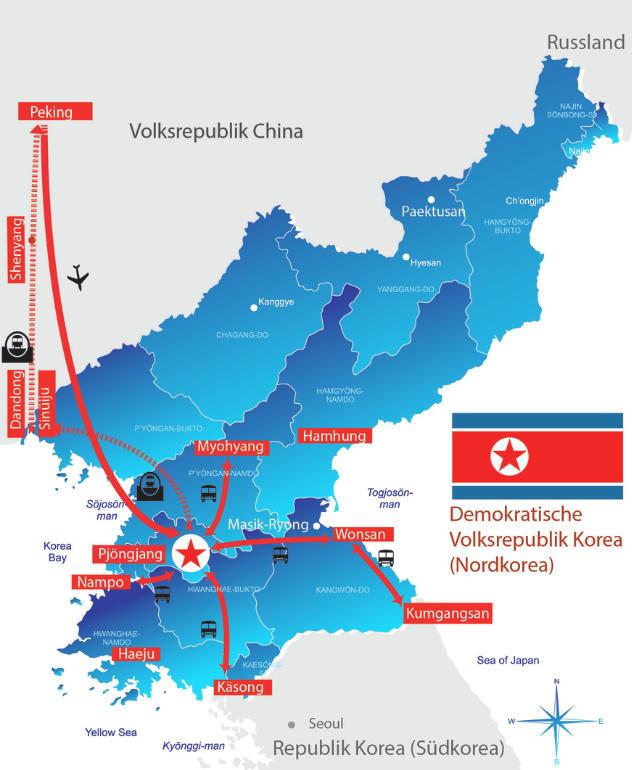 : Karte und Tourenverlauf Nordkorea-Rundreise mit Wanderungen