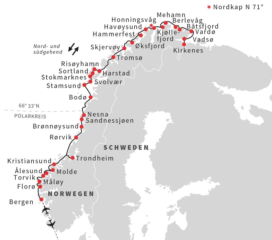 Norwegen: Karte und Tourenverlauf Naturschauspiel Nordlicht am Nordkap und auf den Lofoten