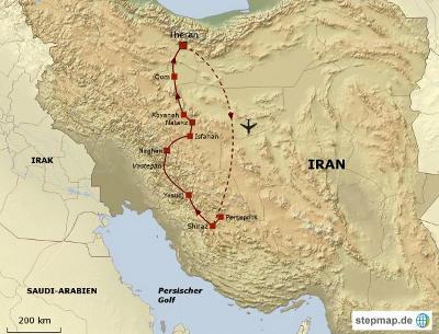 Oman: Karte und Tourenverlauf Zagros-Gebirge, Paläste und Basare