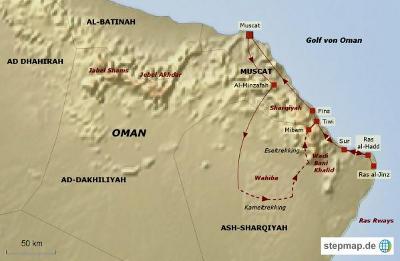 Oman: Karte und Tourenverlauf Trekking in Sharqiyah-Gebirge und Wahiba-Wüste