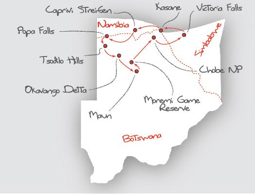 Botswana: Karte und Tourenverlauf Safari in Botswana und im Caprivi-Zipfel