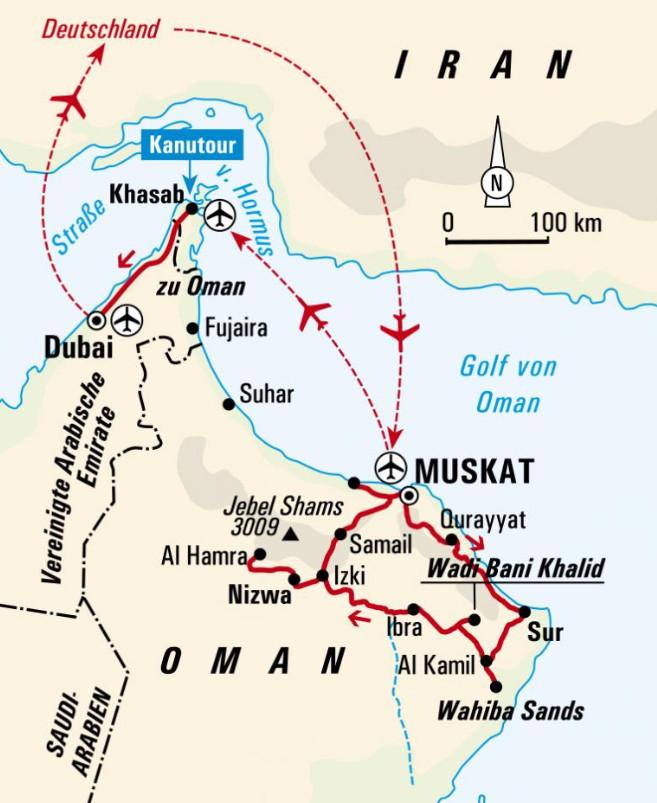 Oman: Karte und Tourenverlauf Wadi-Wanderungen und Schwimmtrekking