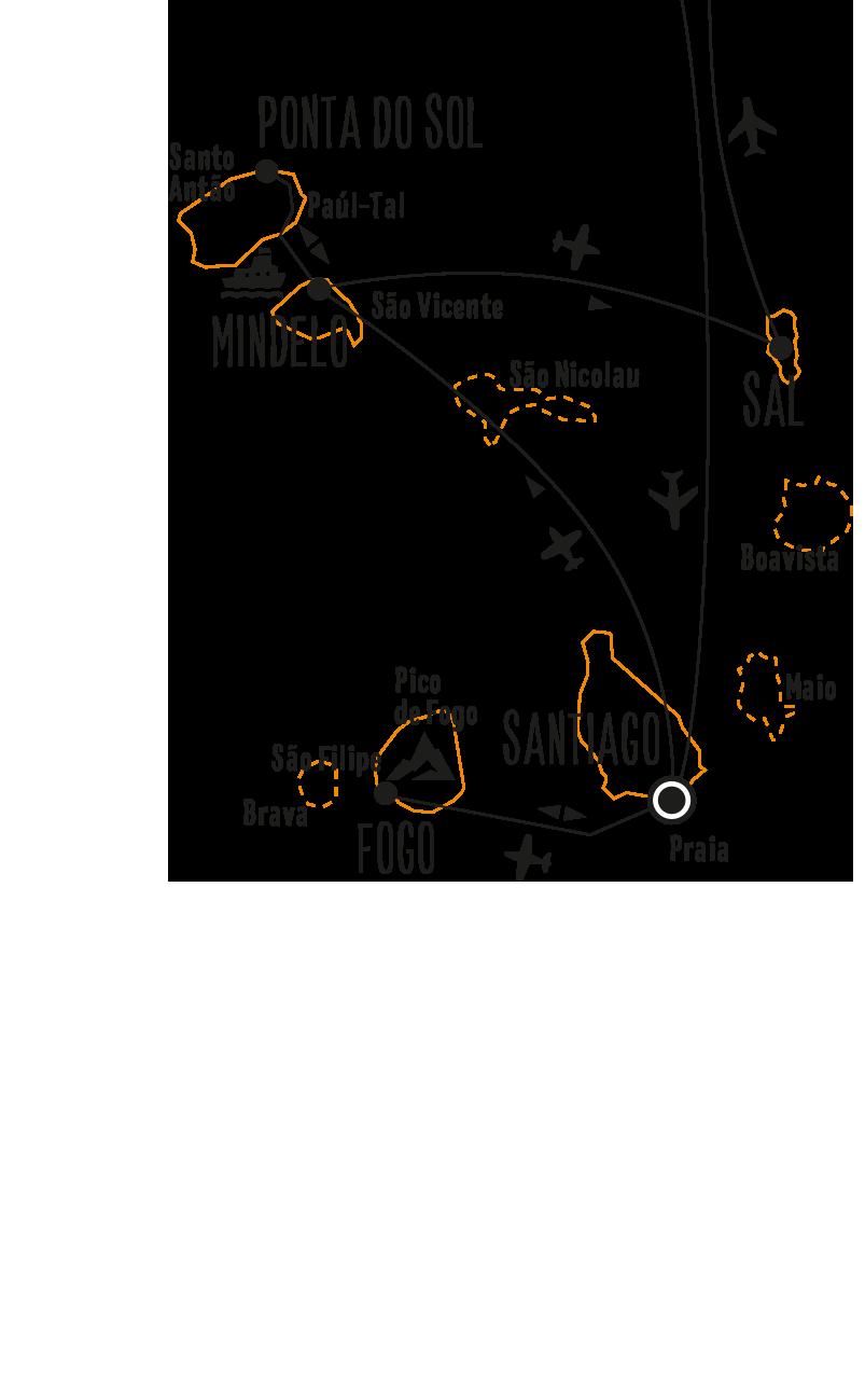 Kapverden: Karte und Tourenverlauf Die Höhepunkte der Inseln