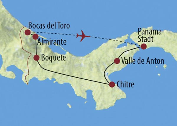 Costa Rica: Karte und Tourenverlauf Panama Rundreise