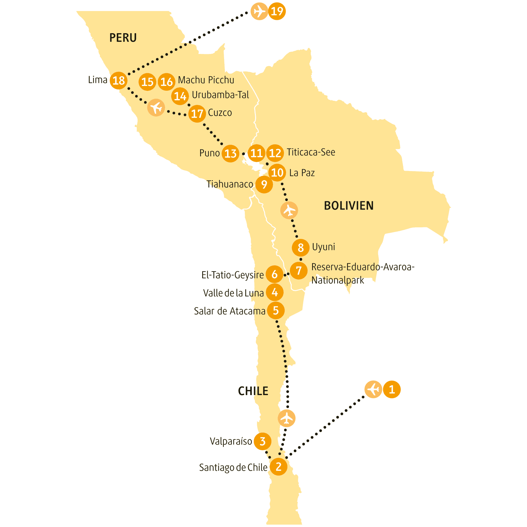 Bolivien: Karte und Tourenverlauf Rundreise durch Bolivien und Peru