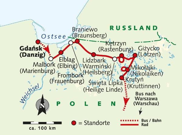 Dänemark: Karte und Tourenverlauf Individuelle Fahrradreise Danzig und Masuren