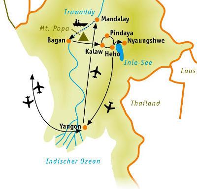 Laos: Karte und Tourenverlauf Rundreise durch das ehemalige Burma