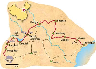 China: Karte und Tourenverlauf Große Mauer und Ming-Kultur