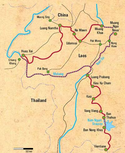 : Karte und Tourenverlauf Radtouren im Norden von Laos