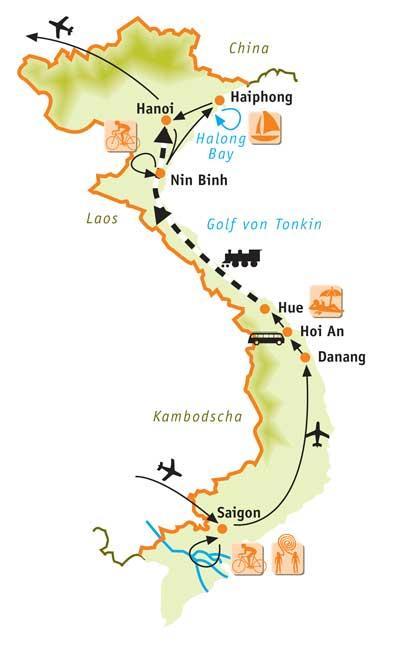 Vietnam: Karte und Tourenverlauf Rad-Kultur-Rundreise Mekong-Delta bis Halong Bucht