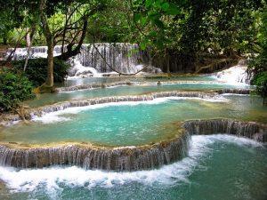 Laos - Kuang Si Falls (Kouangxi-Wasserfall) in Luang Prabang