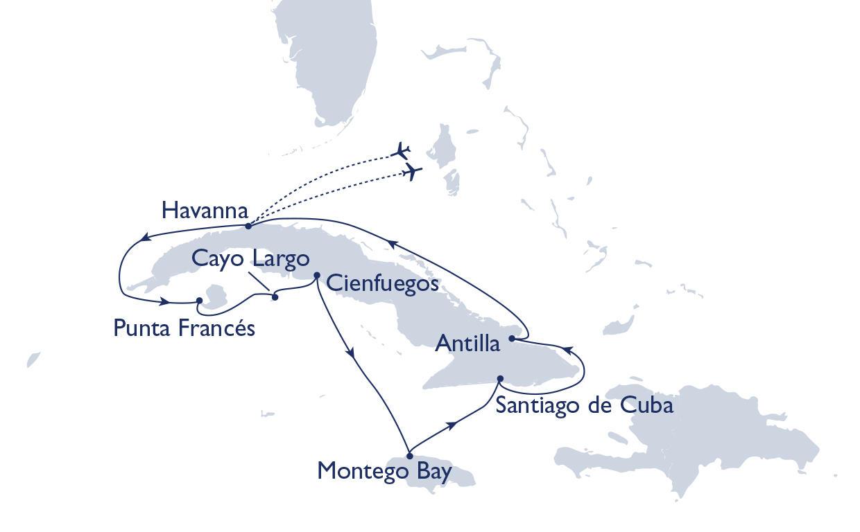 Kuba: Karte und Tourenverlauf Kreuzfahrt rund um Kuba