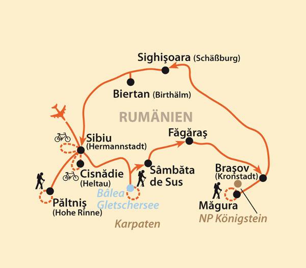 Italien: Karte und Tourenverlauf Radtouren und Wanderungen in Siebenbürgen