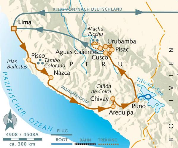 Peru: Karte und Tourenverlauf Anden-Rundreise durch Peru