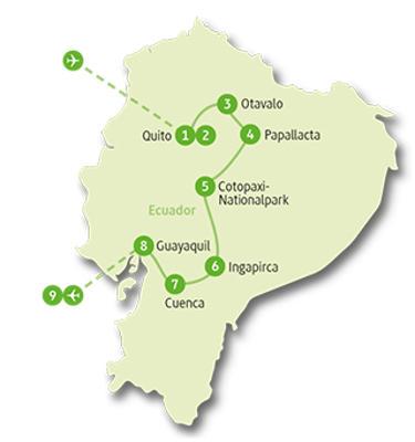 Ecuador: Karte und Tourenverlauf Vom Regenwald bis zu den Vulkanlandschaften