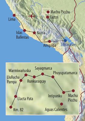 Peru: Karte und Tourenverlauf Inkatrail