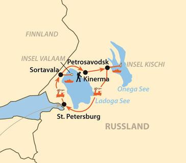 Russland (Europa): Karte und Tourenverlauf Einzigartiges Karelien