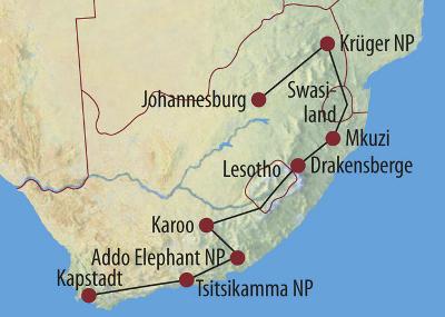 Namibia: Karte und Tourenverlauf Safari vom Krüger Nationalpark bis Kapstadt