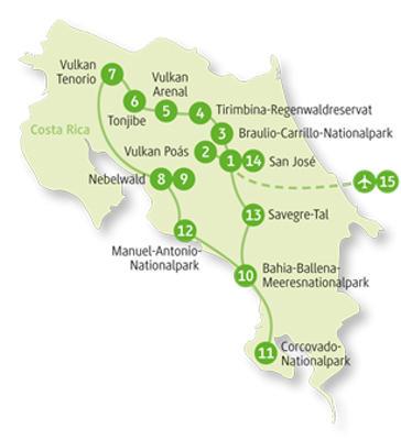 Costa Rica: Karte und Tourenverlauf Privatreise Monteverde