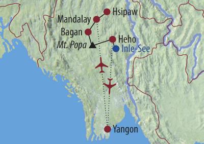 Laos: Karte und Tourenverlauf Natur- und Kulturrundreise