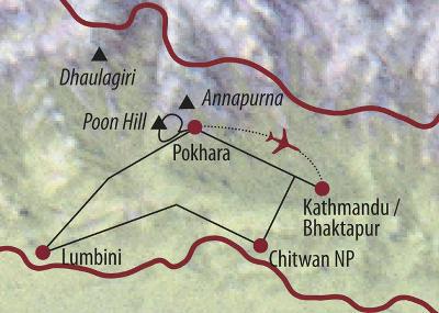 Nepal: Karte und Tourenverlauf Kathmandu-Tal, Buddhas und Elefanten
