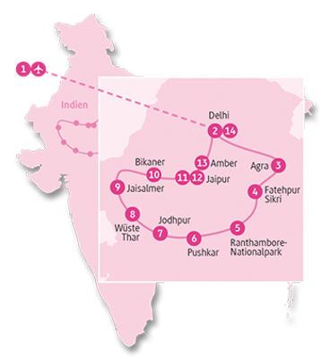 Indien: Karte und Tourenverlauf Privatreise Wüste Thar – Pushkar – Agra