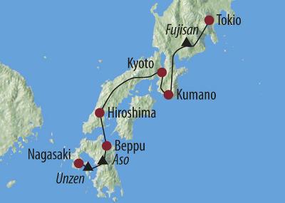 China: Karte und Tourenverlauf Fuji Trekking- und Kultur-Rundreise