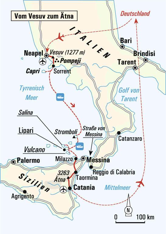 Kanaren: Karte und Tourenverlauf Wanderreise Vesuv, Stromboli und Ätna