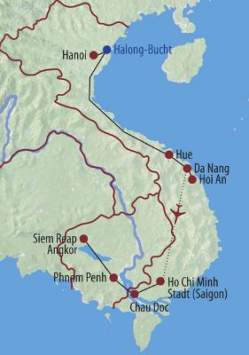 Vietnam: Karte und Tourenverlauf Halongbucht, Mekongdelta & Angkor Wat